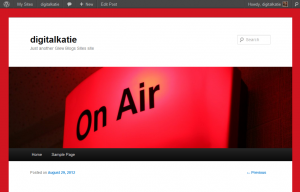 my Glew blog with an 'on air' image