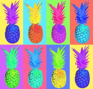 An image of a pineapple in the style of Andy Warhol
