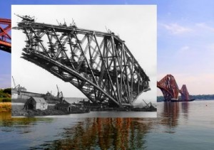 Forth Rail Bridge from North Queensferry - old and new photos