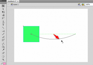 Bending the motion line using the selection tool